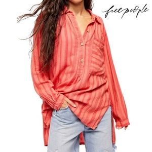 Free People Summer Breeze Stripe Print Linen Blend